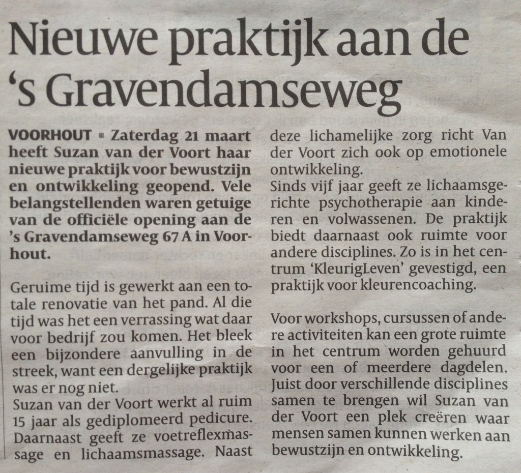 Artikel Suzan van der Voort